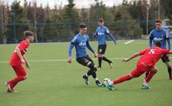 Viitorul U 19 (echipament albastru-negru) a câștigat categoric meciul cu CSȘ Slatina
