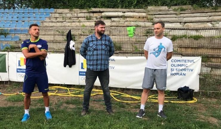 George Buricea, Ionuţ Rudi Stănescu şi Djordje Cirkovic (sursa foto: Facebook HC Dobrogea Sud Constanta)