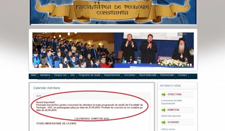 Pe site-ul Facultății de Teologie nu a mai fost actualizat anunțul privind examenul de admitere din 22 septembrie