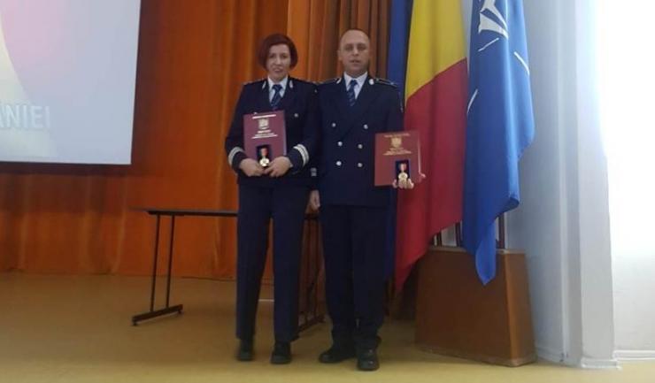 Comisarii Marian Enache și Janina Teodorescu fac cinste Poliției constănțene