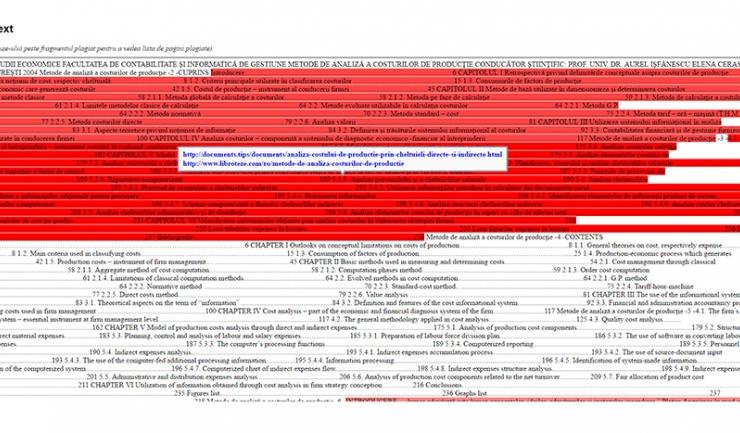 Prima pagină din textul lucrării de doctorat - porțiunile de text subliniate cu fond roșu sunt identificate de soft ca fiind plagiat