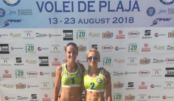 Beata Vaida (CSM Bucureşti) şi Elena Prisecaru (CS Medgidia) au ocupat primul loc în întrecerea senioarelor (sursa foto: Facebook beachvolleyball.ro)