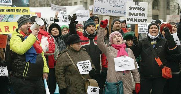 Grupul Clienților cu Credite în Franci Elvețieni a protestat, în week-end, în Capitală