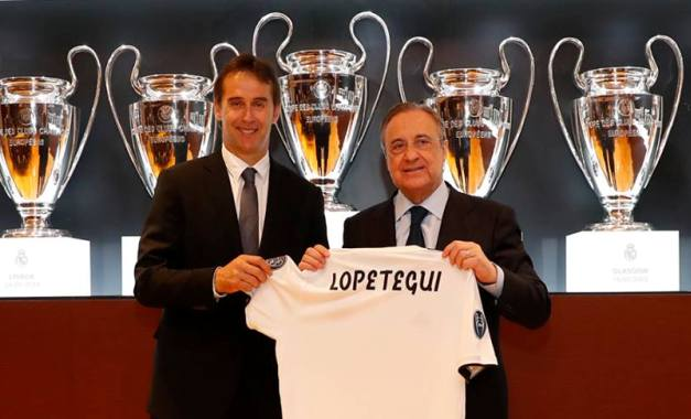 Julen Lopetegui (stânga) a condus Realul în 14 partide oficiale, obţinând doar şase victorii (sursa foto: Facebook Real Madrid C.F.)