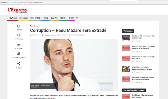 Situația lui Radu Mazăre este subiectul unui articol din numărul de marți al cotidianului  L'Express de Madagascar