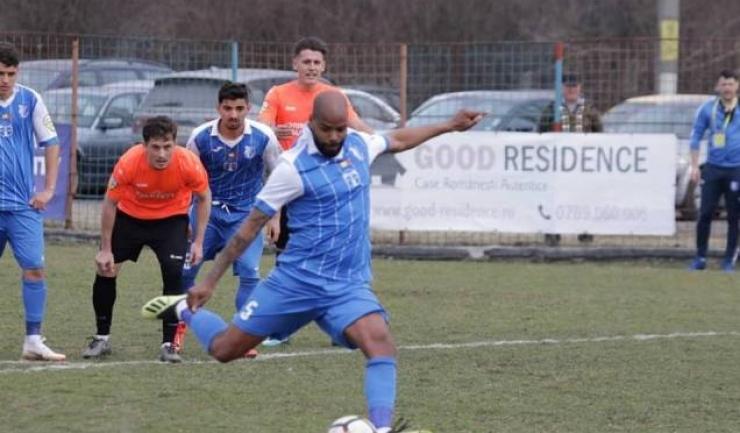 Pedro Celestino a înscris, din penalty, golul victoriei Farului la Baloteşti (sursa foto: Facebook FC Farul Constanţa)