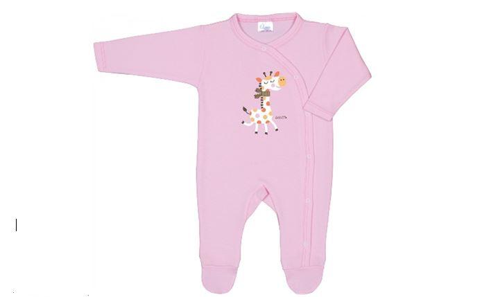 Salopetă cu mânecă lungă și pantaloni cu botoșei roz cu imprimeu girafă