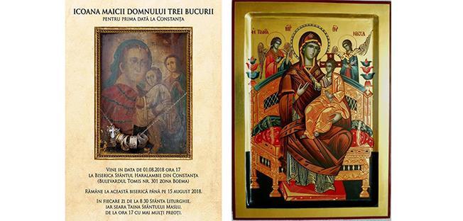 """Icoana Maica Domnului """"Trei Bucurii"""", ce se va afla la biserica """"Sf. Haralambie"""" din Constanța și Icoana Maica Domnului """"Pantanassa"""" - biserica """"Sf. Nicolae"""" din cartierul constănțean Coiciu"""