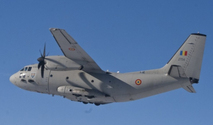 Aeronava C-27J Spartan a Forţelor Aeriene Române, configurată pentru misiuni de evacuare medicală