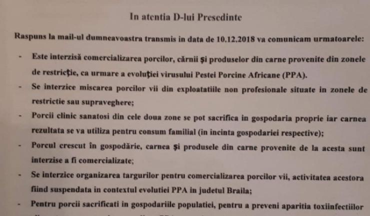 Adresa trimisă de APC către DSVSA-urile din cele 19 judeţe afectate de pesta porcină
