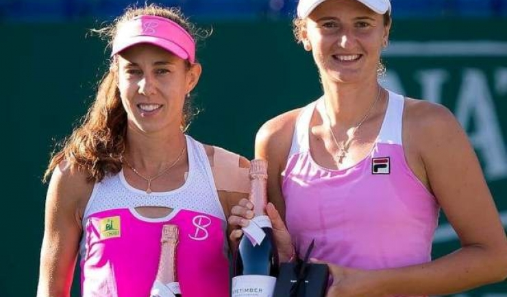 Mihaela Buzărnescu și Irina Begu au câștigat primul set, însă au cedat în următoarele două (sursa foto: Facebook Mihaela Buzărnescu)