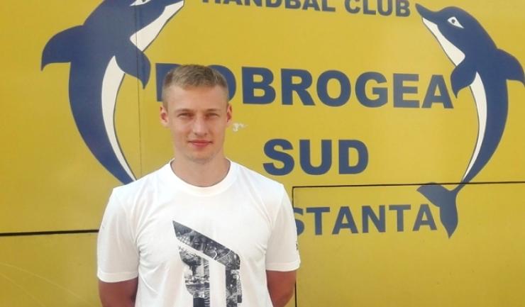 Viachaslav Saldatsenka, fostul portar de la HC Dobrogea Sud, a contribuit la victoria Belarusului în confruntarea cu Serbia (sursa foto: hcdobrogeasud.ro)