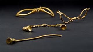 Tezaur de piese din aur din Epoca Fierului, găsit cu detectorul de metale
