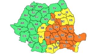 Cod Portocaliu de instabilitate atmosferică pentru sudul, centrul și estul României, valabil de la ora 14, până mâine dimineață