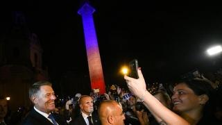 Columna lui Traian din Italia, iluminată în culorile Drapelului României