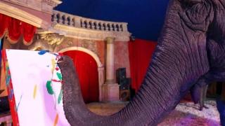 Un elefant care pictează a câştigat bani pe lucrările sale