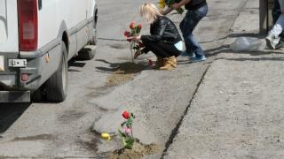 Localnicii dintr-o comună argeșeană au plantat lalele în gropile din asfalt în semn de protest