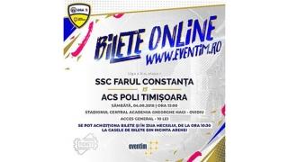 Se pot cumpăra bilete pentru partida SSC Farul - ACS Poli Timișoara