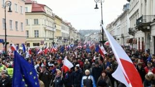 Manifestație împotriva guvernului polonez la Varșovia