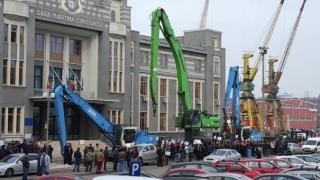 Portuarii au protestat în fața sediului CNAPMC