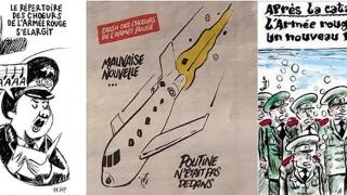 """Rusia denunță caricaturile """"Charlie Hebdo"""" cu prăbușirea avionului în Marea Neagră"""