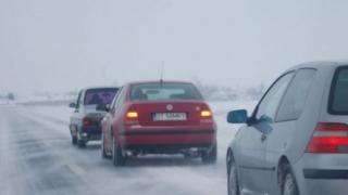 Atenție la trafic pe A2 și A4: carosabil umed și parțial acoperit de zăpadă!