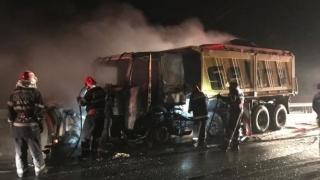 Utilaj de deszăpezire în flăcări, pe autostrada A2
