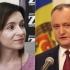 Maia Sandu şi Igor Dodon, în turul al doilea al alegerilor prezidenţiale