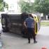 Răsturnare spectaculoasă a unui taxi pe bulevardul Mamaia!